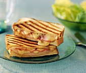 Cheddar, boiled ham, bacon and quince paste toasted sandwich
