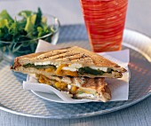 Feta, green and yellow toasted sandwich