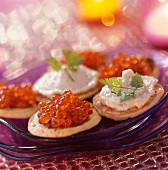 Blinis with salmon roe and fish paté