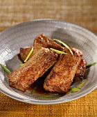 Spare ribs cooked with soya sauce and honey