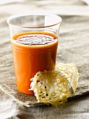 Spicy gaspacho with a parmesan tuile biscuit