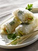 Salmon,avocado,coriander and rice spring rolls