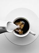 Milch in eine Tasse Kaffee gießen