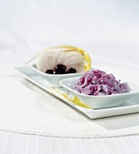 Perch fillet with basmati and blueberry rice