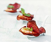 Beetroot chips with shrimp and basil