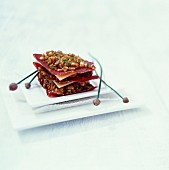 Mille feuille made from Grissons air-dried beef, Beaufort cheese and spelt
