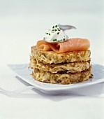 Sauerkraut and spelt cakes with smoked salmon