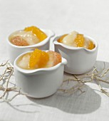 Citrus fruits with a lemon and barley cream