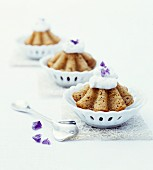 Rye brioches with violets