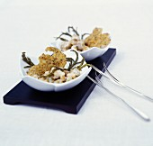 Whelks with samphire and quinoa wafers