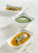 Oyster and pumpkin soup with curry and wasabi