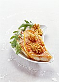 Fried red mullet fillets with walnuts and curry olive oil
