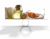 Selection of products with a high level of Omega 3 on scales