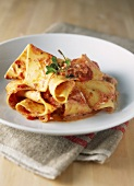 Parpadelle with tomato and ricotta sauce