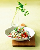 Rice salad with tomatoes and peppers