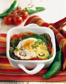 Piperade with fried eggs
