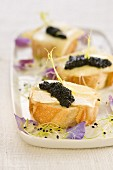 Camembert and caviar on a bite-size slice of bread