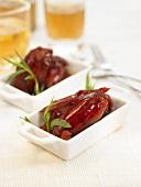 Small casserole dish of Chorizo and red wine sauce