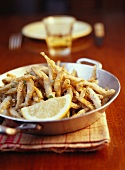 Deep-fried small fish with tartare sauce