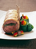 Saddle of lamb with green stuffing