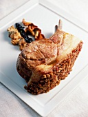 Double free-range pork chop with cep crust