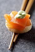 Mini blini with smoked salmon and wasabi