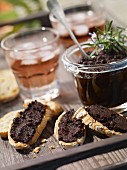 Tapenade on sliced bread