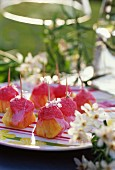 Pineapple and strawberry Tagada candy skewers