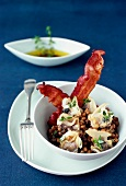 Dog cockel shellfish with lentils and bacon, chervil french dressing
