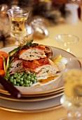 Poulard hen's breast stuffed with foie gras