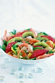 Salmon, kiwi shrimp, grapefruit, chicory and avocado salad