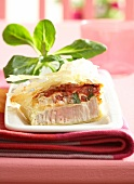 Tuna,tomato and chervil filo pastry pie