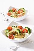 Touquet-Kartoffeln mit Brokkoli und Kirschtomaten, heiss und kalt