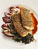 Haddock steak with pepper crust