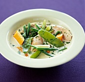 Turkey breast with vegetables and cream sauce