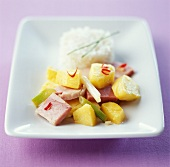 Warm potato, ham, leek and pepper salad