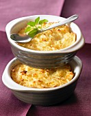 Mashed potatoes and fromage frais cheese-topped dish