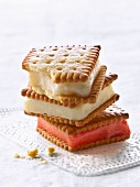 Rich tea biscuit sandwiches filled with ice cream