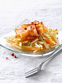 Gravlax salmon with apple carrot and ginger salad