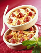 Individual strawberry and almond gratins