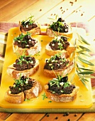 Tapenade on small toasts
