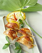 Chicken breast and orange kebabs
