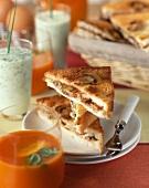 Ham and mushroom toasted sandwich
