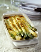 Asparagus cheese-topped dish