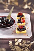 Polenta, wild blueberry jam, ginger and chocolate bites
