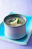 Vanilla-flavored artichoke heart digestif soup