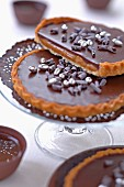 Chocolate and salted toffee tartlets