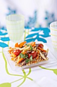 Quinoa, meat and vegetable wok
