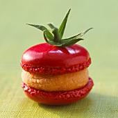 Tomato-flavored savoury macaroon