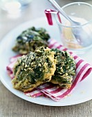 Spinach fritters with brown sugar